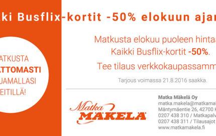 Elokuun tarjous: Kaikki Busflix-kortit -50%