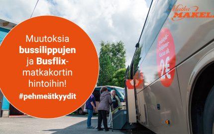 Muutoksia bussilippujen ja Busflix-matkakortin hinnoitteluun